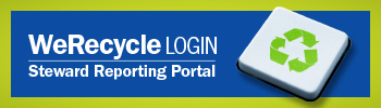 We Recycle Login Stewardship Reporting Portal - in text, and a white square with the green recycle symbol.